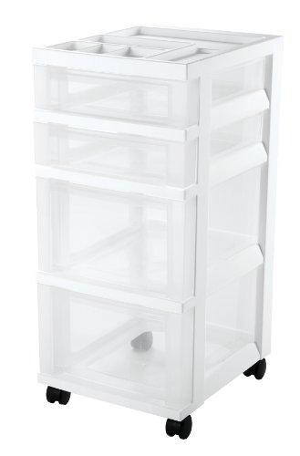 IRIS 4-Drawer Storage Cart with Organizer Top, White (Craft Storage Bins compare prices)