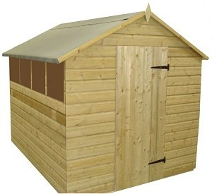 GARDEN SHED 8X6 TANALISED SHIPLAP APEX ROOF WITH WINDOWS