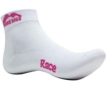 Womens More Mile Ottowa Race Running Run Socks WHITE/Pink MM1471