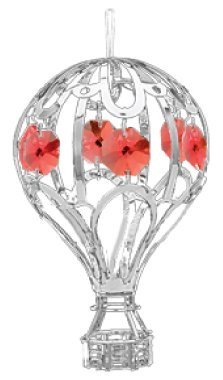 Chrome Hot Air Balloon Ornament – Red Color Swarovski Crystal