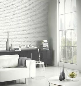 Arthouse Brick Wallpaper - White by New A-Brend