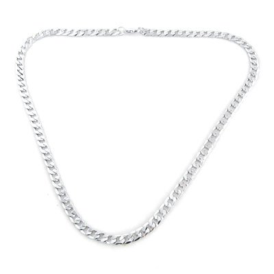 Rosallini Men Woman Silver Tone Glossy Lobster Clasp Link Necklace