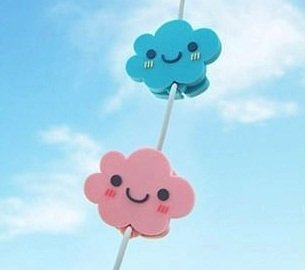 Bds - Cute Cartoon (2 Pieces Of Smile Face - Blue + Pink) Earphone Winder / Cord Manager / Cable Winder + One Free Smart Wrap Silicone Rubber Earphone/Earbud Cord Manager Cable Winder Wrap Reel