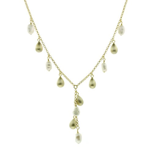 18k Gold Overlay FW Pearl Y Necklace (8-9 mm)