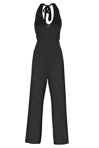 Nanso Damen Overall Jumpsuit Neckholder Hausanzug Freizeitanzug Gr. M L XL XXL (50-52 / XXL, Schwarz)