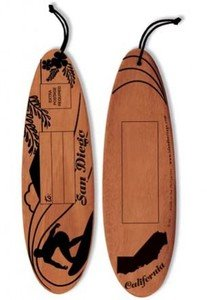San Diego Wood Postcard Surfer Black