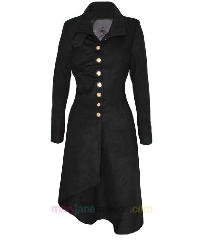 Womens Military Victorian Style Long Length Hem Gold Button Up Coat Jacket UK 10