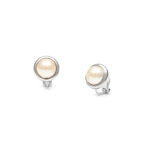 Rodney Holman Straight Edged Pearl Clip On Earrings - Rhodium Plated