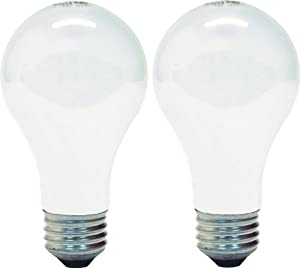 GE Lighting 72549 60-Watt Rough Service Frost A-Line Light Bulb, 2-Pack