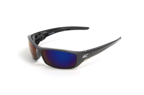 Edge Eyewear TSRAP218 Reclus Safety Glasses, Black with Polarized Aqua Precision Blue Mirror Lens (Edge Safety Glasses Polarized compare prices)