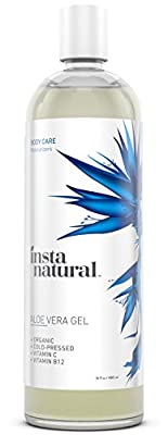 InstaNatural Aloe Vera Gel - Best Pure, Organic & Cold-Pressed Moisturizer for Face & Hair - Great for Dry, Damaged & Aging Skin - Works on Sunburns, Acne, Razor Bumps & Insect Bites - 16 OZ