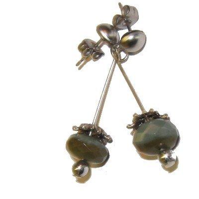Jasper Earrings 10 Dangle Green Faceted Silver Steel Post Crystal Healing Gemstone 1.3