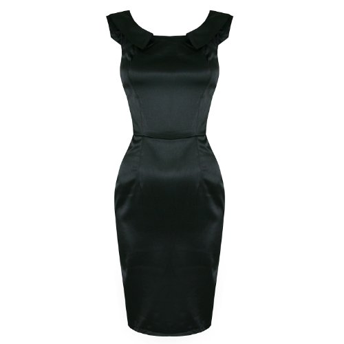 LADIES WOMENS NEW BLACK SATIN FITTED WORK CAREER PARTY PENCIL WIGGLE DRESS