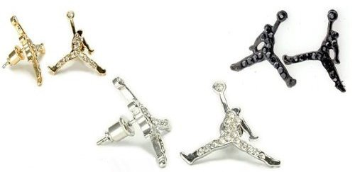 3 Pairs of Michael Air Jordan Jumpman Black, Gold, and Silver Tone CZ Stud Hip Hop Bling Earrings