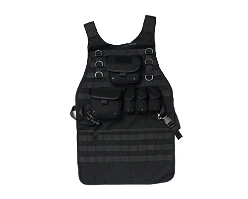 CS Force(TM) 1000D Nylon Molle Airsoft Tactical Vest Chef Apron Style with 5 Removable Pouches for Military Hunting Paintball Black