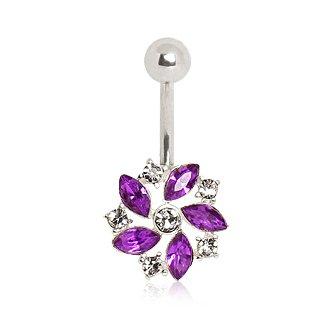 Gekko Body Jewellery Surgical Steel 14 Gauge (1.6mm) Belly Bar with Purple Cubic Zirconia Fancy Flower