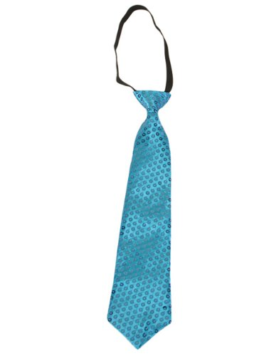 Adults Mens Womens Funky Retro Sequin Blue Elastic Necktie