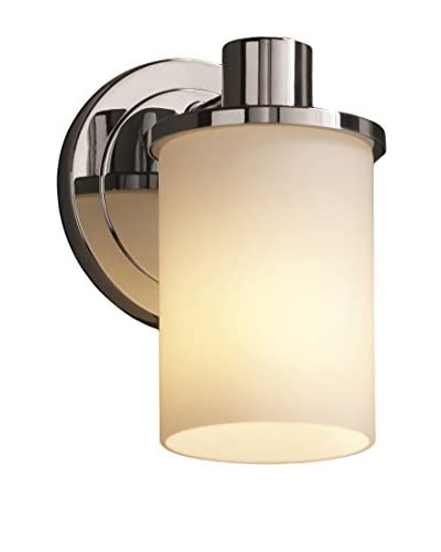Justice Design Group Rondo 1-Light Wall Sconce, Polished Chrome/Opal