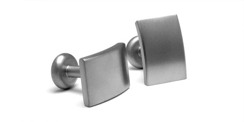 Men's Grey Titanium Rectangular Satin Cufflinks