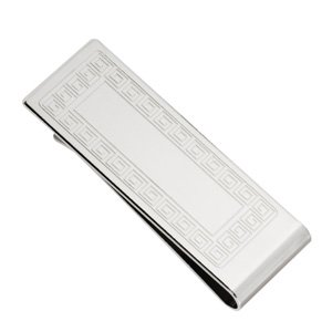 Silver-Plated Greek Key Design Money Clip(Gift Boxed)