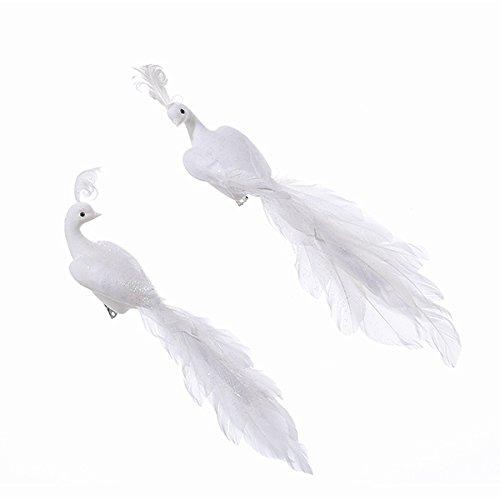 Kurt Adler 11 Flocked Feather Peacock Ornaments