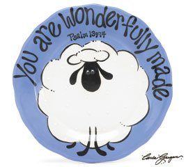 """You Are Wonderfully Made"" Ceramic Baby Boy Puffy Sheep Plate - 1"