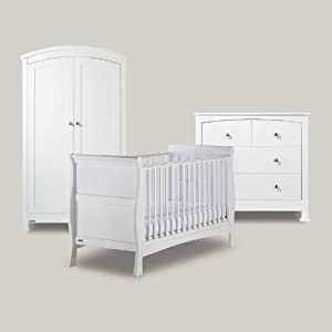 Bailey White 3 Piece Nursery Furniture Set Cot Bed Wardrobe Drawers Baby
