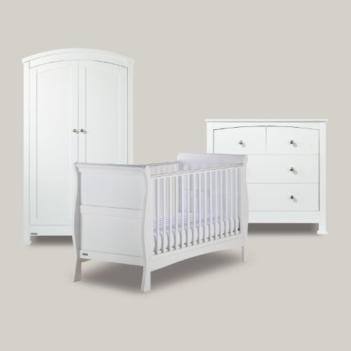 BAILEY WHITE 3 PIECE NURSERY FURNITURE SET (Cot Bed, Wardrobe, Drawers)