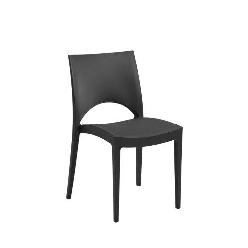 WorldStores Moon Sidechair - Black Garden Chair - Stackable Chair - Outdoor Plastic Seat - Lightweight - Black Chair Only