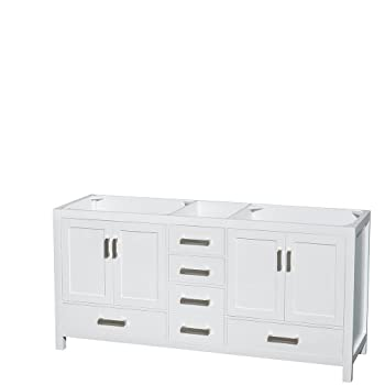 Wyndham Collection Sheffield 72 inch Double Bathroom Vanity in White, White Carrera Marble Countertop, Undermount Square Sinks, and No Mirror