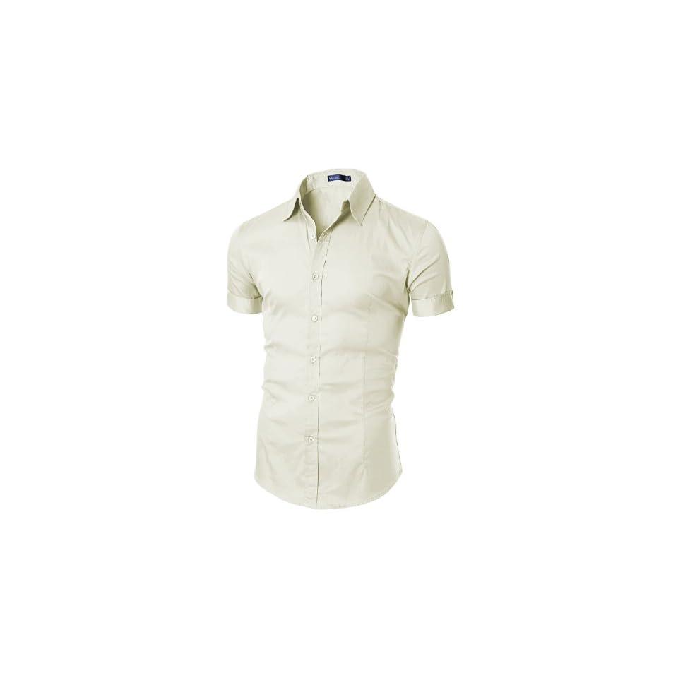 Doublju Mens Trendy Wrinkle Free Slim Fit Short Sleeve Dress Shirt IVORY,(US M)