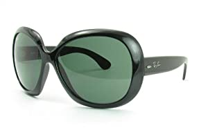 Ray-Ban Women's RB4098 Non-Polarized Jackie OHH II Sunglasses,Black Frame/Green Solid Lens,60 mm