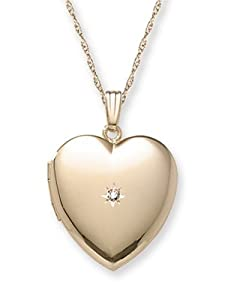 14k Yellow Gold Filled Diamond-Accent Heart Locket, 20
