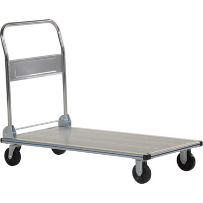 Vestil Aluminum Folding Handle Platform Truck - Single Handle, 600-Lb. Capacity, 36In.L X 24In.W, Nonmarking Polyurethane Casters, Model# Aft-36-Nm