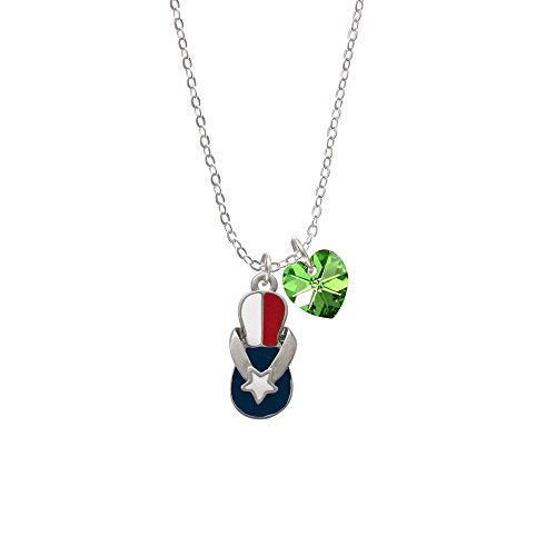 Texas Flip Flop - Lime Green Crystal Heart Sophia Necklace