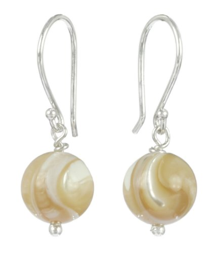 8mm Natural Mother-Of-Pearl Single Bobby Drop Earrings