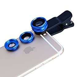 New Clip Lens Apexel 3 in 1 Phone Lens Kit 180 Degree Fisheye Lens + 0.65x Supreme Wide Angle Lens + 10x Macro Lens for Iphone Samsung Phones Tablets Blue
