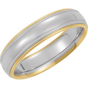 Genuine IceCarats Designer Jewelry Gift 14K White/Yellow Gold Wedding Band Ring Ring. Size 05.50 Two Tone Comfort Fit Band In 14K White/Yellowgold Size 5.5
