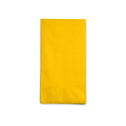 Creative Converting Touch of Color 16 Count 3-Ply Paper Guest Napkin, School Bus Yellow - 1