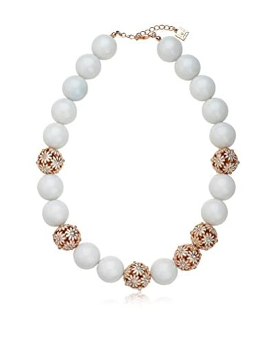 Riccova WTNE394-W-RG-18E Country Chic White Beads Exquisite Necklace Accented with Rose Gold Plated ...