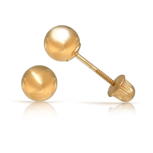 Bling Jewelry 14K Yellow Gold Baby Children Ball Stud Earrings Safety Screw Back 4mm