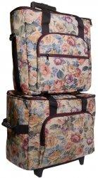 Hemline 2pcs Cream Floral Tapestry Trolley Bag from hemline