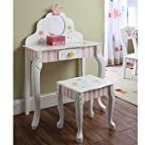 Teamson Kids Girls Vanity Table and Stool - Princess and Frog Room Collection