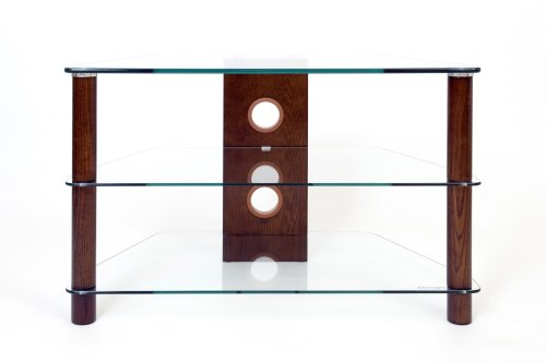 Demagio DM021-Wood - Clear Glass and 3-Wood Column Stand for LCD and Plasma TV - 800mm Wide, Recommended for Screen Sizes up to 32