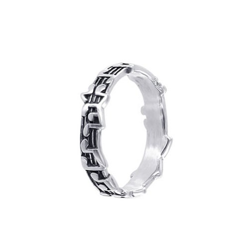 LWRS174-6 925 Sterling Silver Musical Notes 5mm Band