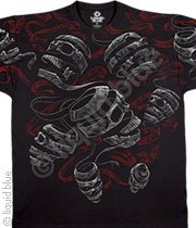 Skull Cut To Ribbons T-Shirt, 'Unraveled' Liquid Blue Premium Full Shirt Design, X-Large, Black