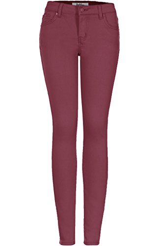 2LUV Women's Solid Color Stretchy 5 Pocket Skinny Jeans Dusty Rose 9