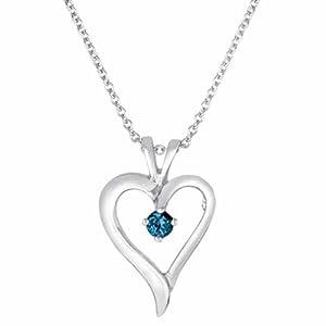 DivaDiamonds Platinum Blue Diamond Heart Pendant w/18 Inch Solid Rope Chain
