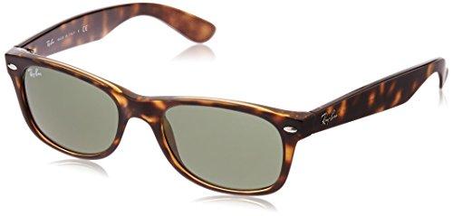Ray-Ban RB2132 New Wayfarer Non- Polarized Unisex Sunglasses, Tortoise Frame/Crystal Green Lenses 52 mm