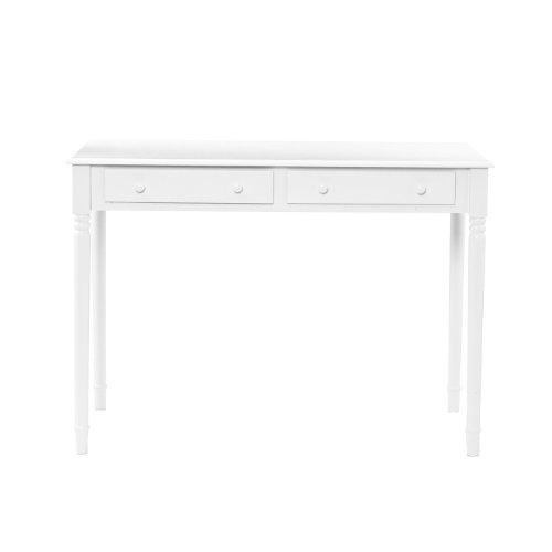 SEI 2-Drawer Wood Writing Desk, Crisp White